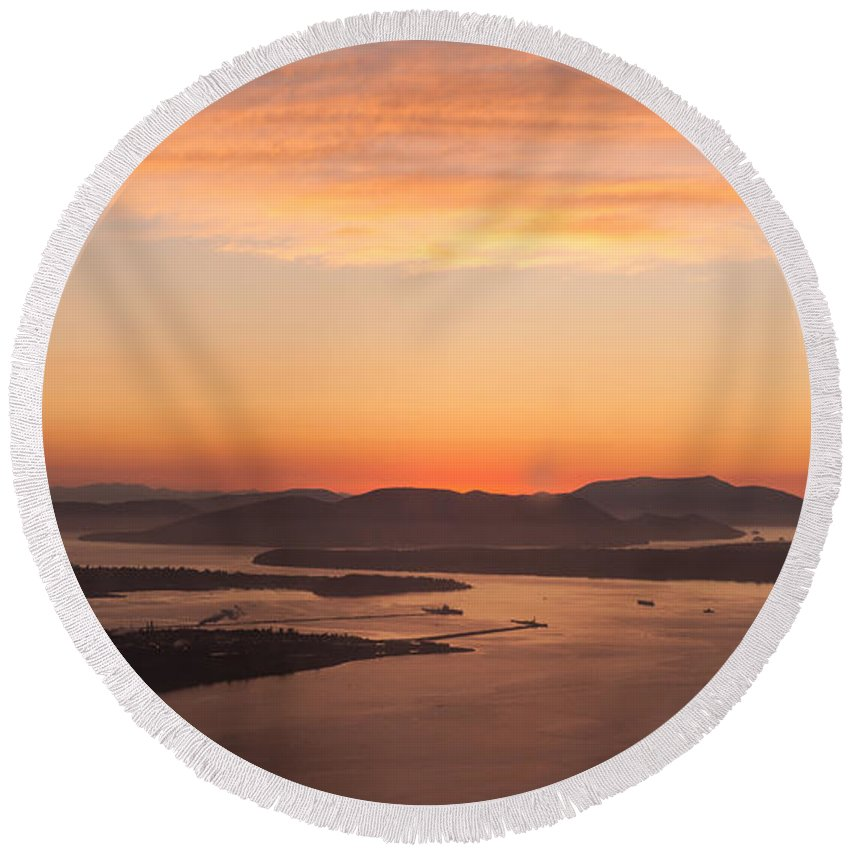 San Juan Islands Round Beach Towel featuring the photograph Anacortes Islands Sunset by Mike Reid