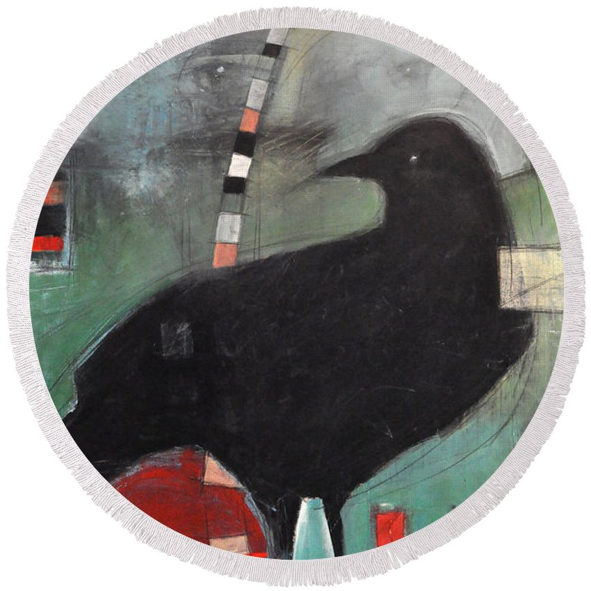 Bird Round Beach Towel featuring the painting Ancestral Visit by Tim Nyberg