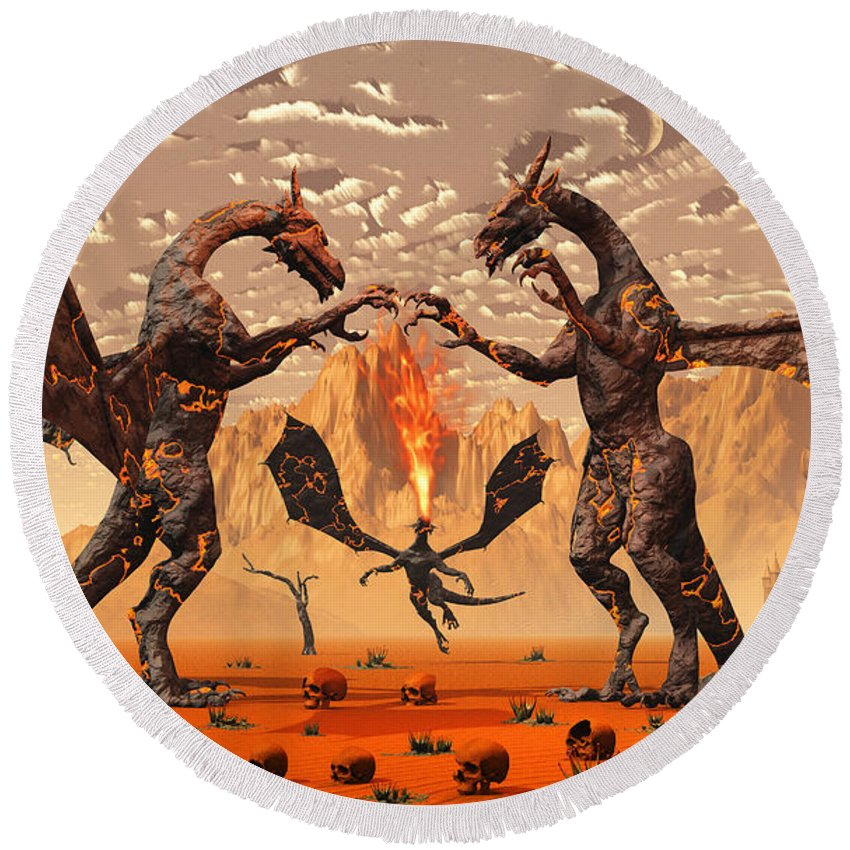 Horizontal Round Beach Towel featuring the digital art Ancient Lava Dragons Born Of Fire by Mark Stevenson