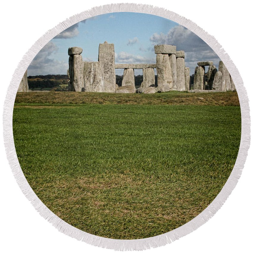 Stonehenge Round Beach Towel featuring the photograph Ancient Stones by Heather Applegate
