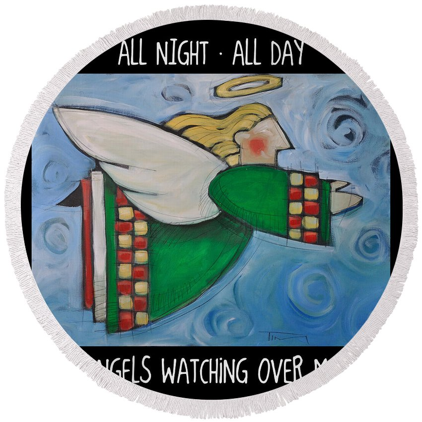Angels Round Beach Towel featuring the painting Angel Flight Poster by Tim Nyberg