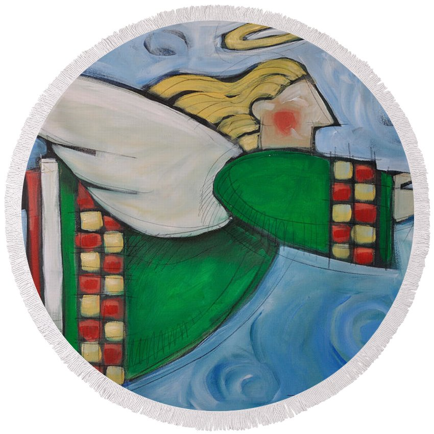 Angel Round Beach Towel featuring the painting Angel Flight by Tim Nyberg