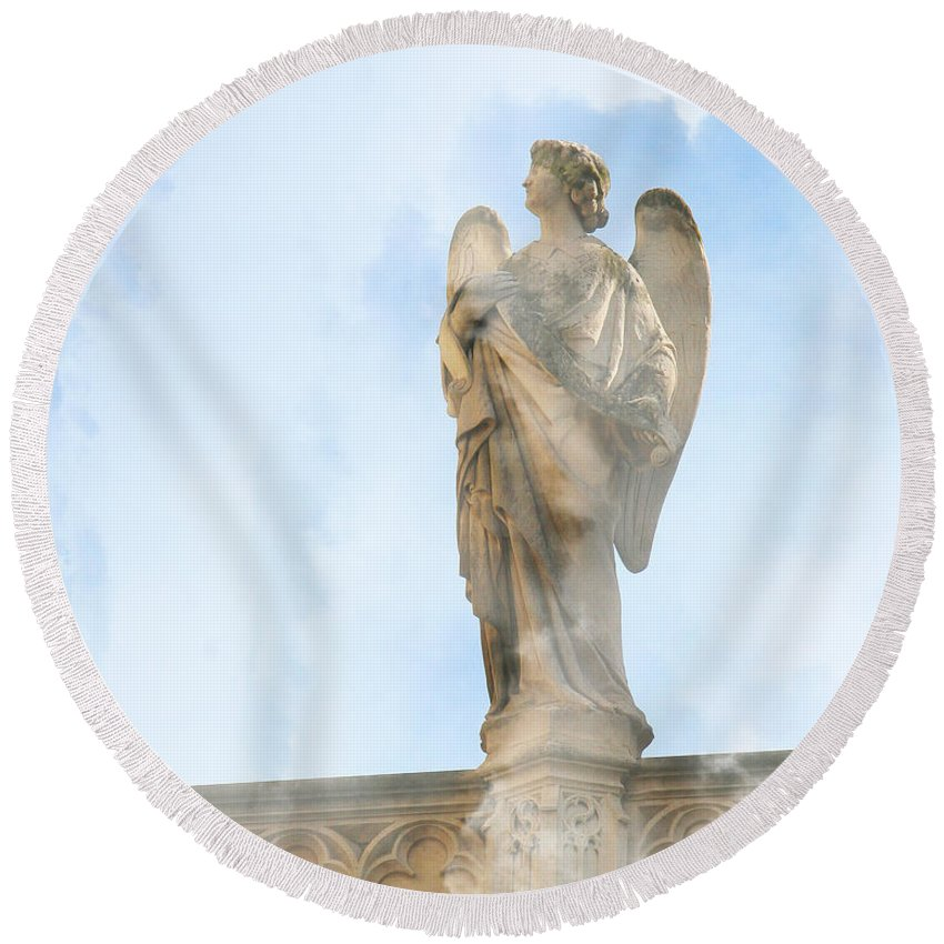 Angel Round Beach Towel featuring the photograph Angel Of The Sky by Diana Haronis