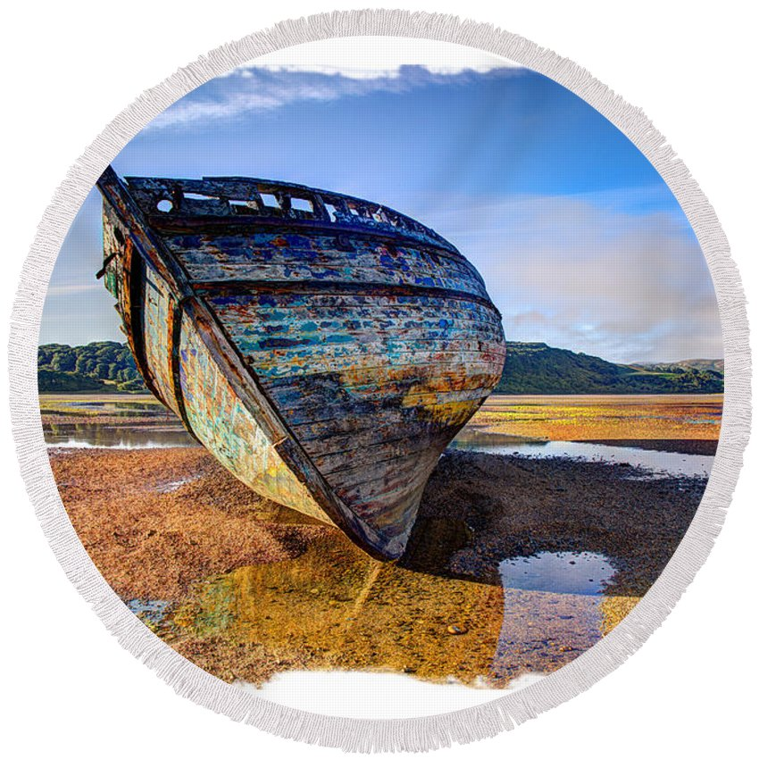 Wreck Round Beach Towel featuring the photograph Anglesey Shipwreck by Mal Bray