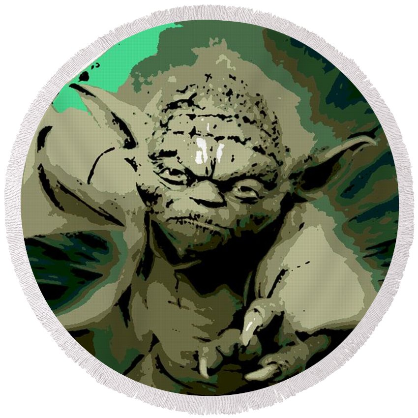 Angry Round Beach Towel featuring the digital art Angry Yoda by George Pedro