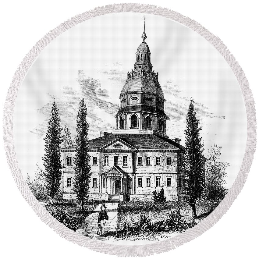 America Round Beach Towel featuring the photograph Annapolis: State House by Granger