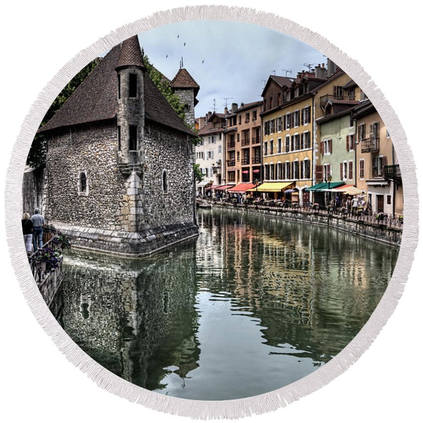 Annecy Round Beach Towel featuring the photograph Annecy Old Town And Prison by Ann Garrett