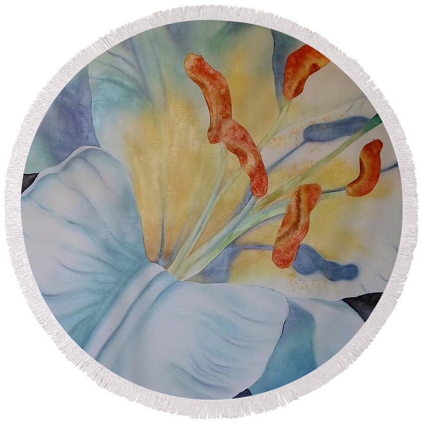 White Round Beach Towel featuring the painting Another Liliy by Catherine JN Christopher