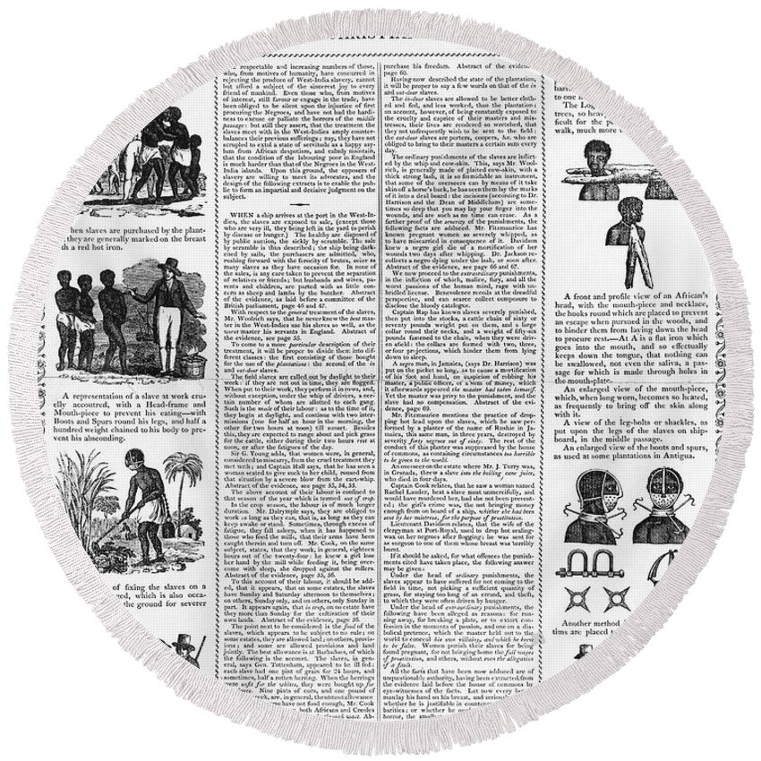 1807 Round Beach Towel featuring the photograph Anti-slavery Broadside by Granger