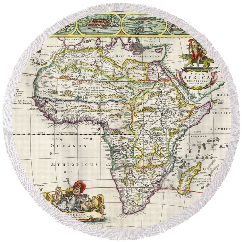 antique map of africa round beach towel for sale by dutch school