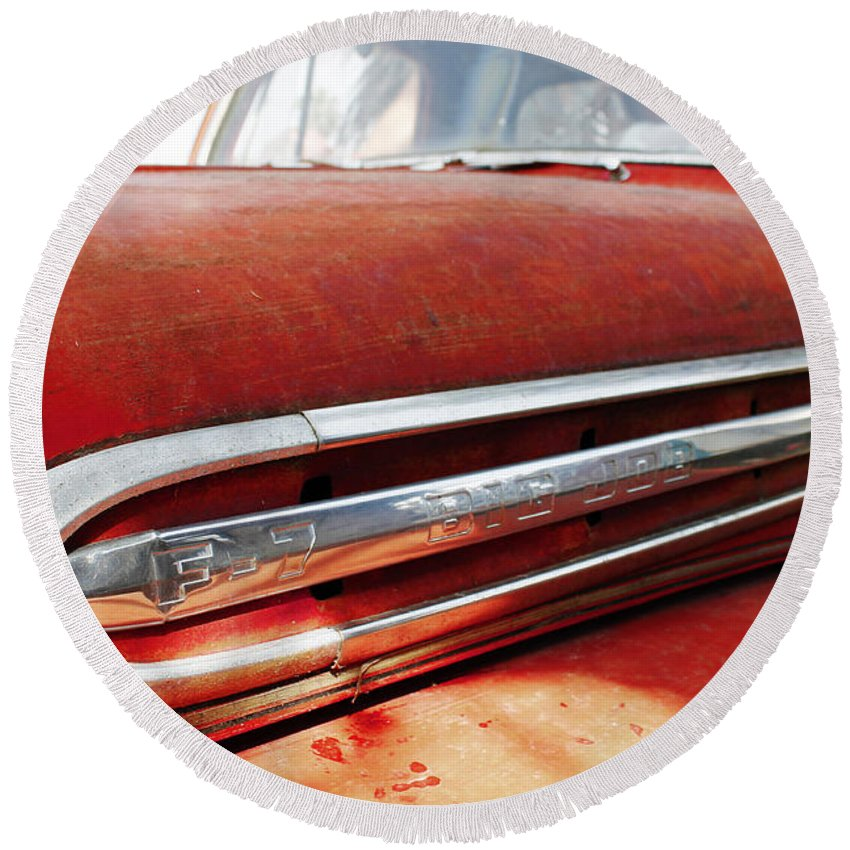 Antique Round Beach Towel featuring the photograph Antique Vintage Ford V8 Big Job F-7 Chrome Emblem Bodecoarts by Robin Lewis