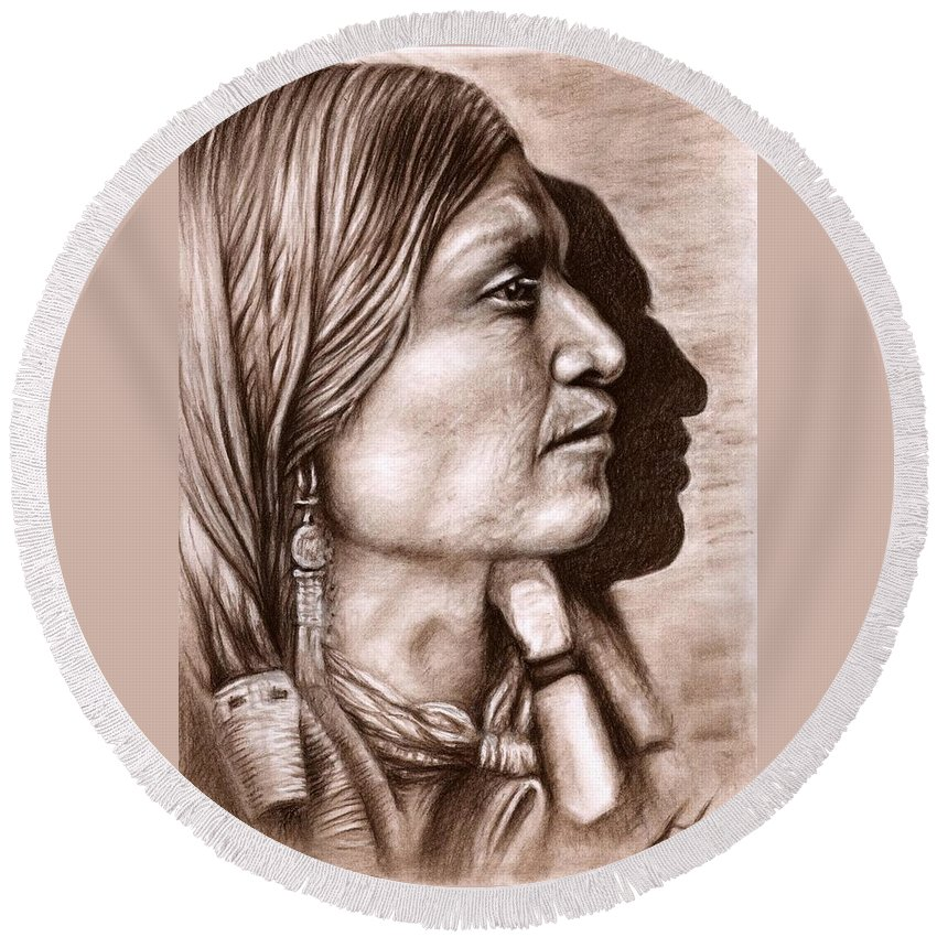 Portrait Round Beach Towel featuring the drawing Apache Chief by Nicole Zeug
