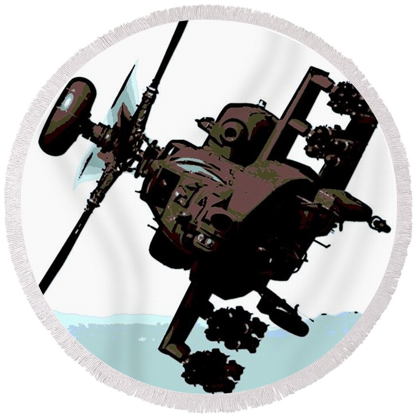 Apache Round Beach Towel featuring the digital art Apache Preparing To Attack by George Pedro