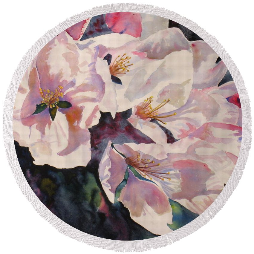 Flowers Round Beach Towel featuring the painting Apple Blossoms by Mohamed Hirji