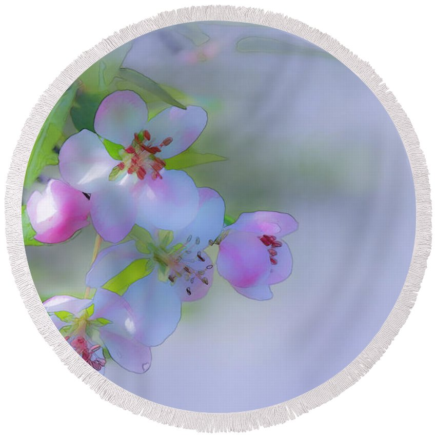 Floral Round Beach Towel featuring the photograph Apple Blossoms by Ron Jones