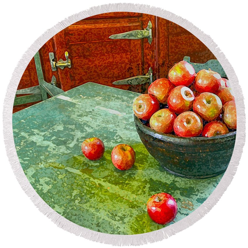 Apples Round Beach Towel featuring the digital art Apples by Karen Francis