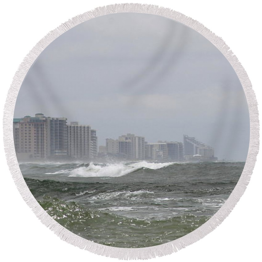 Gulf Of Mexico Round Beach Towel featuring the photograph Approaching Storm by Travis Truelove