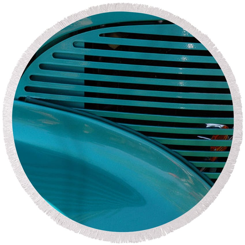 Cars Round Beach Towel featuring the photograph Aqua Magic by Vivian Christopher