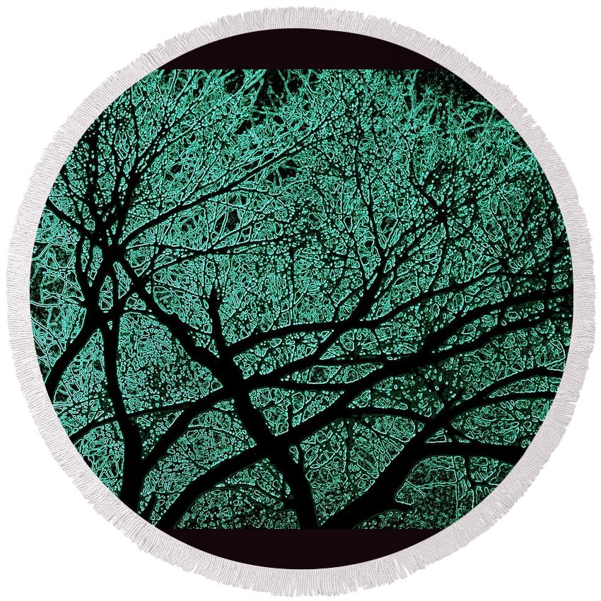 Trees Round Beach Towel featuring the photograph Aqua Scrub by Chris Berry