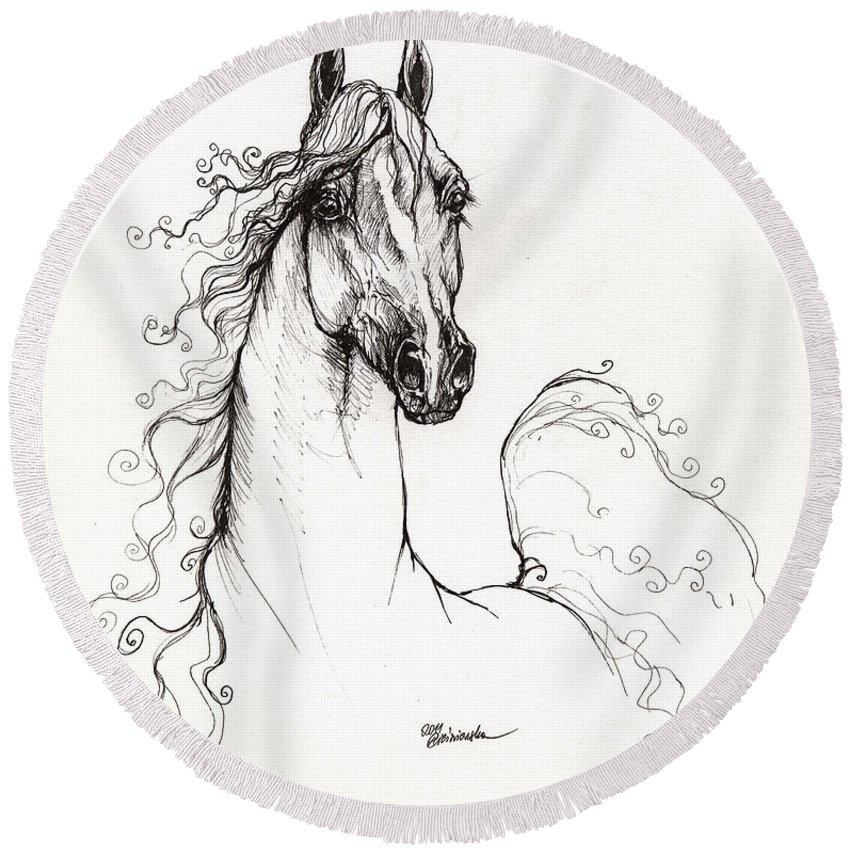 Horse Round Beach Towel featuring the drawing Arabian Horse Drawing 41 by Angel Ciesniarska