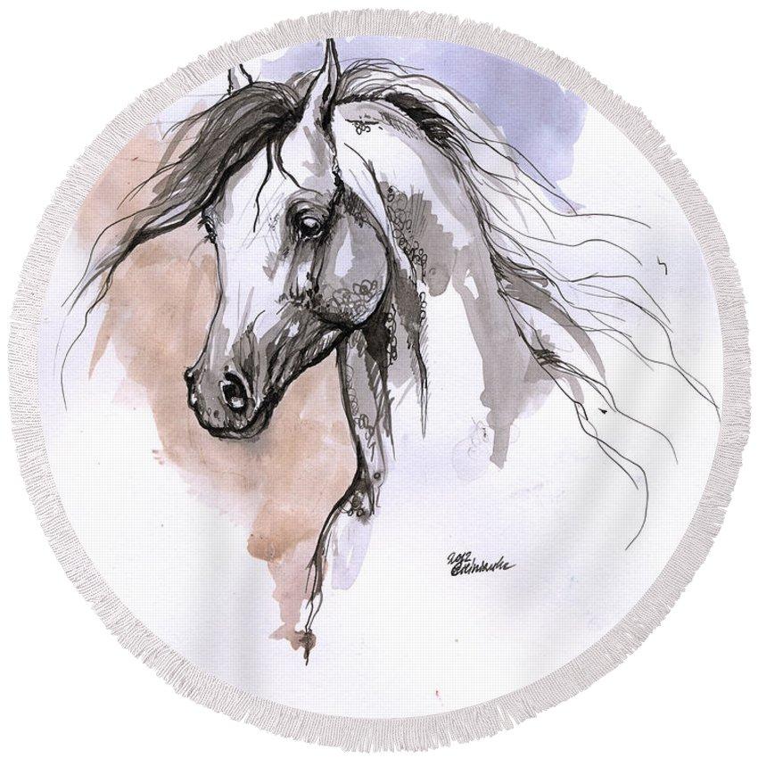 Horse Round Beach Towel featuring the drawing Arabian Horse Ink Drawing 1 by Angel Ciesniarska