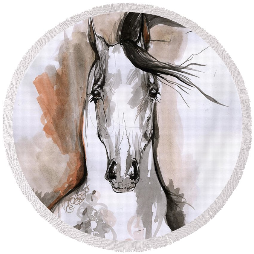 Horse Round Beach Towel featuring the drawing Arabian Horse Ink Drawing 2 by Angel Ciesniarska