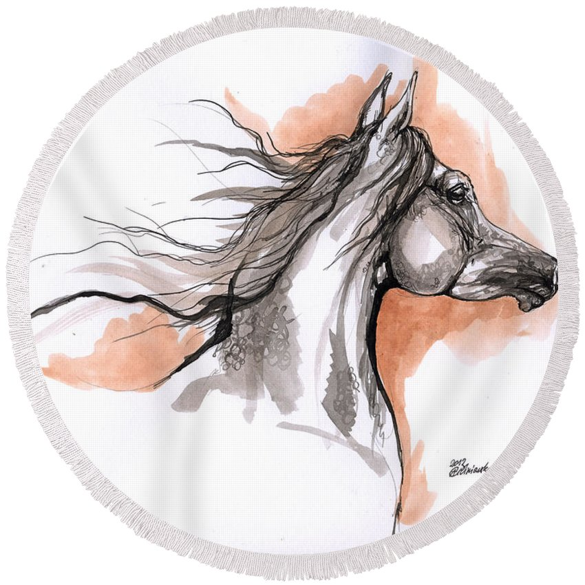 Horse Round Beach Towel featuring the drawing Arabian Horse Ink Drawing 3 by Angel Ciesniarska