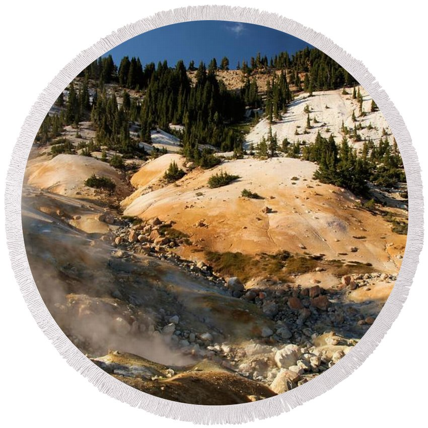 Lassen Volcanic National Park Round Beach Towel featuring the photograph Arc Of Steam by Adam Jewell