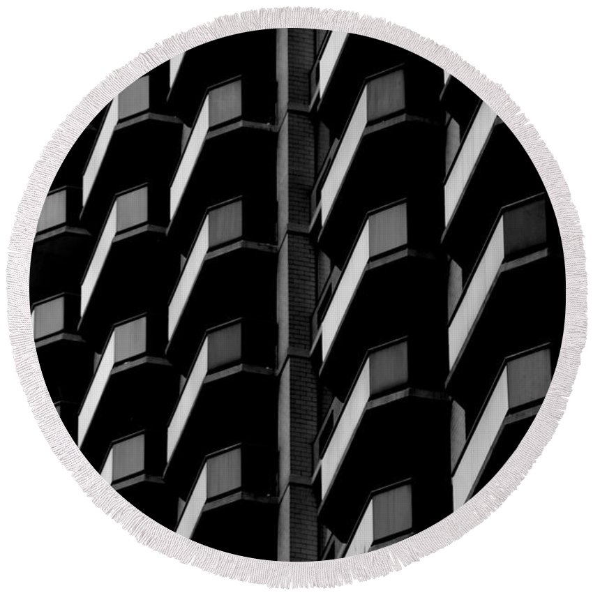 New York Round Beach Towel featuring the photograph Architectural Uniformity by Eric Tressler