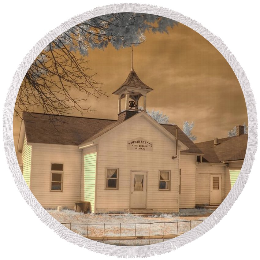 Arcola Round Beach Towel featuring the photograph Arcola Illinois School by Jane Linders