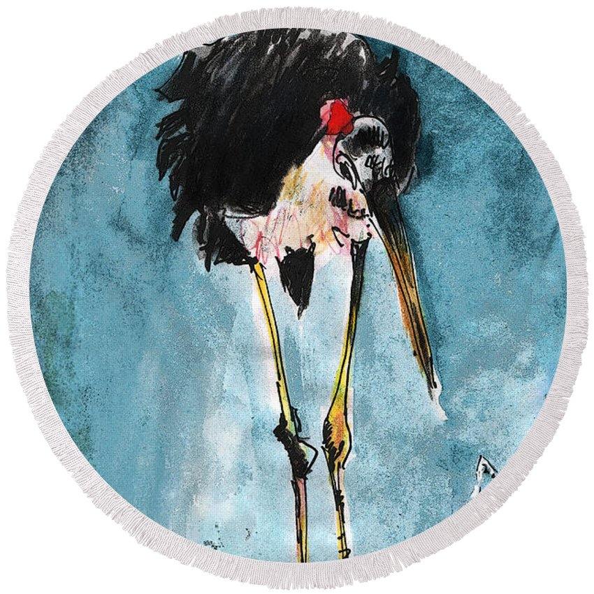 Animals Round Beach Towel featuring the painting Are You Free Tonight by Miki De Goodaboom