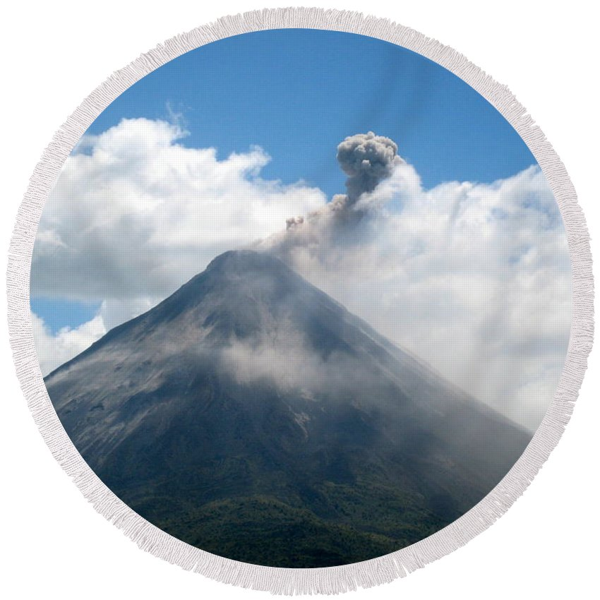Volcano Round Beach Towel featuring the photograph Arenal Eruption by Eric Tressler