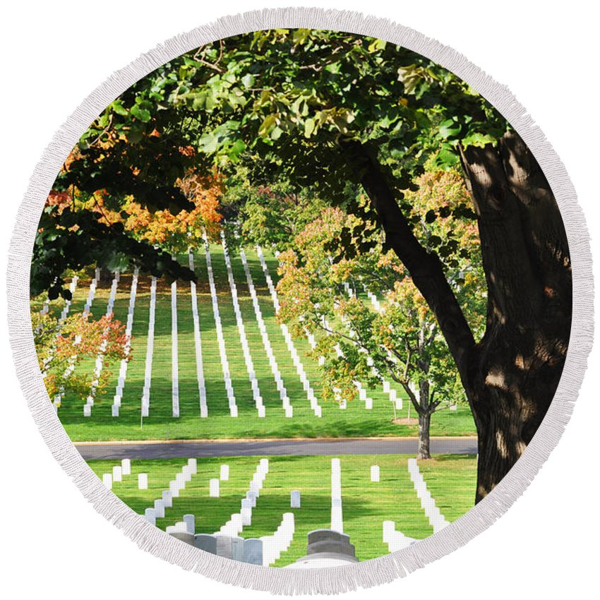 Arlington National Cemetery Round Beach Towel featuring the photograph Arlington National Cemetery In The Fall by Brittany Horton