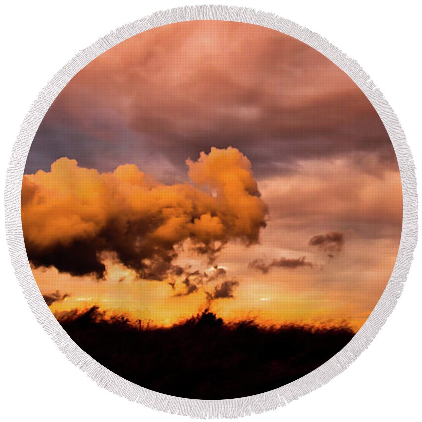 Cloud Round Beach Towel featuring the photograph Armageddon by Michael Goyberg