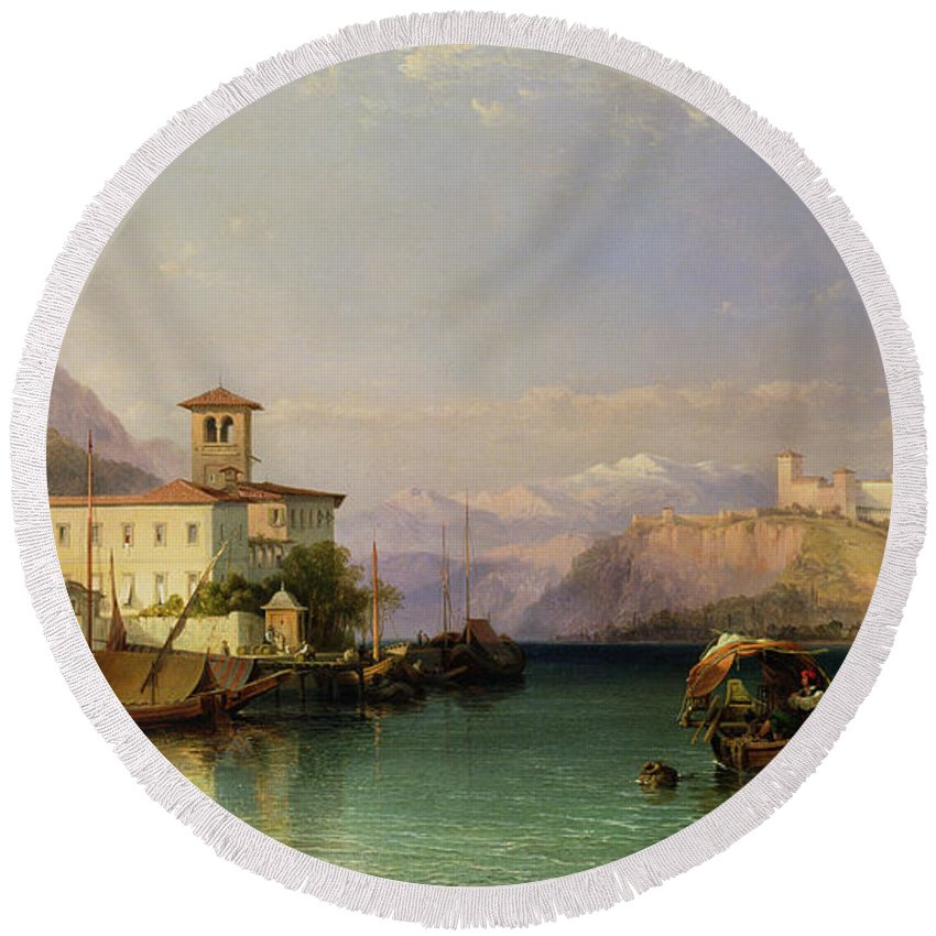 North Italian Town; Landscape; Lago; Mountain Range; Mountainous; Rocca; Vernacular Architecture; Bell Tower; Covered Barge; Barges; Moored; Mooring Round Beach Towel featuring the painting Arona And The Castle Of Angera Lake Maggiore by George Edwards Hering