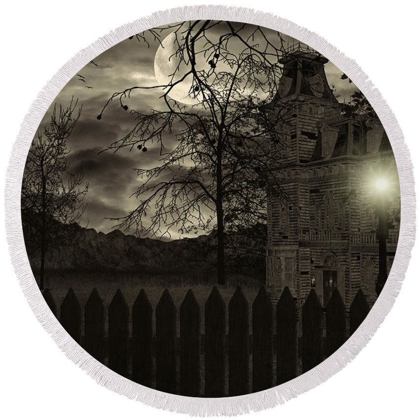 Haunted House Round Beach Towel featuring the photograph Arrival by Lourry Legarde