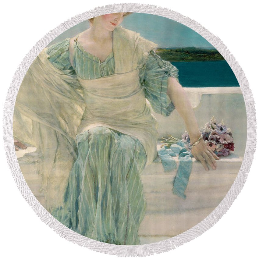 Ask Round Beach Towel featuring the painting Ask Me No More by Sir Lawrence Alma-Tadema