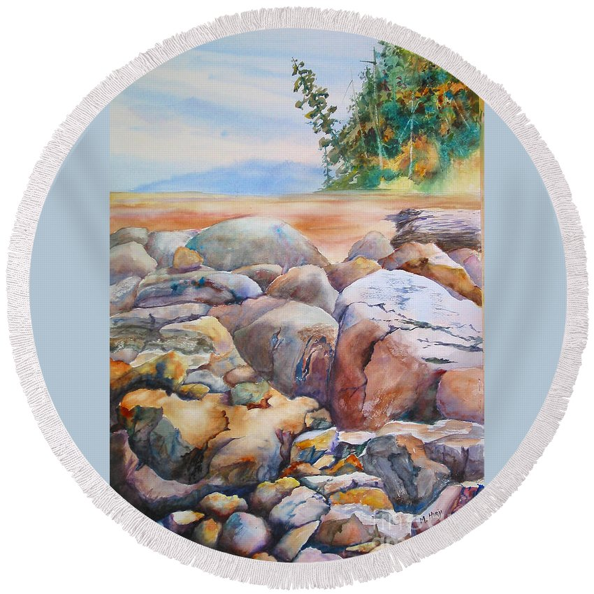 Rocks Round Beach Towel featuring the painting At Low Tide by Mohamed Hirji