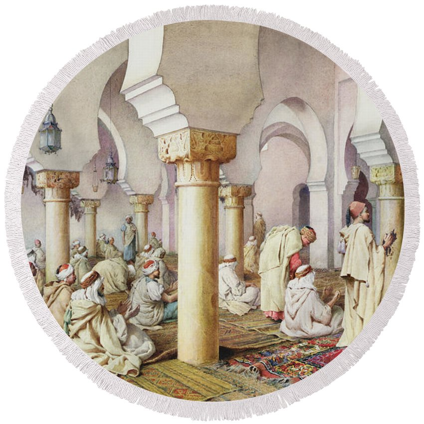 Orientalist; Arch; Prayer Mat; Islam; Islamic; Arabic; Muslim Round Beach Towel featuring the painting At Prayer In The Mosque by Filipo Bartolini or Frederico