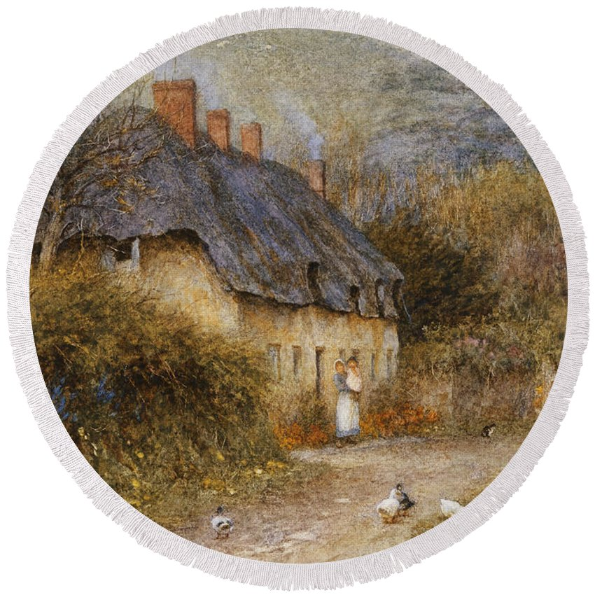 Thatched; Thatch; Cottage; West Country; Path; Lane; Rural; Stream; Ducks; Hill; Mother; Child Round Beach Towel featuring the painting At Symondsbury Near Bridport Dorset by Helen Allingham