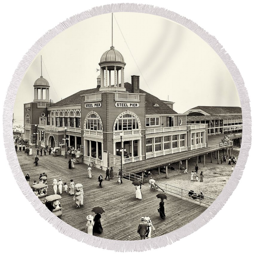 Atlantic City Steel Pier 1910 Round Beach Towel featuring the photograph Atlantic City Steel Pier 1910 by Bill Cannon
