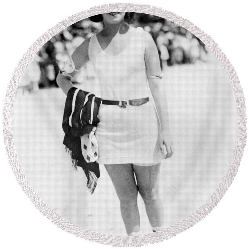 19th Century Round Beach Towel featuring the photograph Atlantic City: Woman by Granger