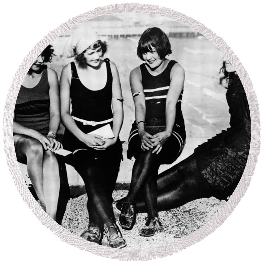 1922 Round Beach Towel featuring the photograph Atlantic City: Women by Granger