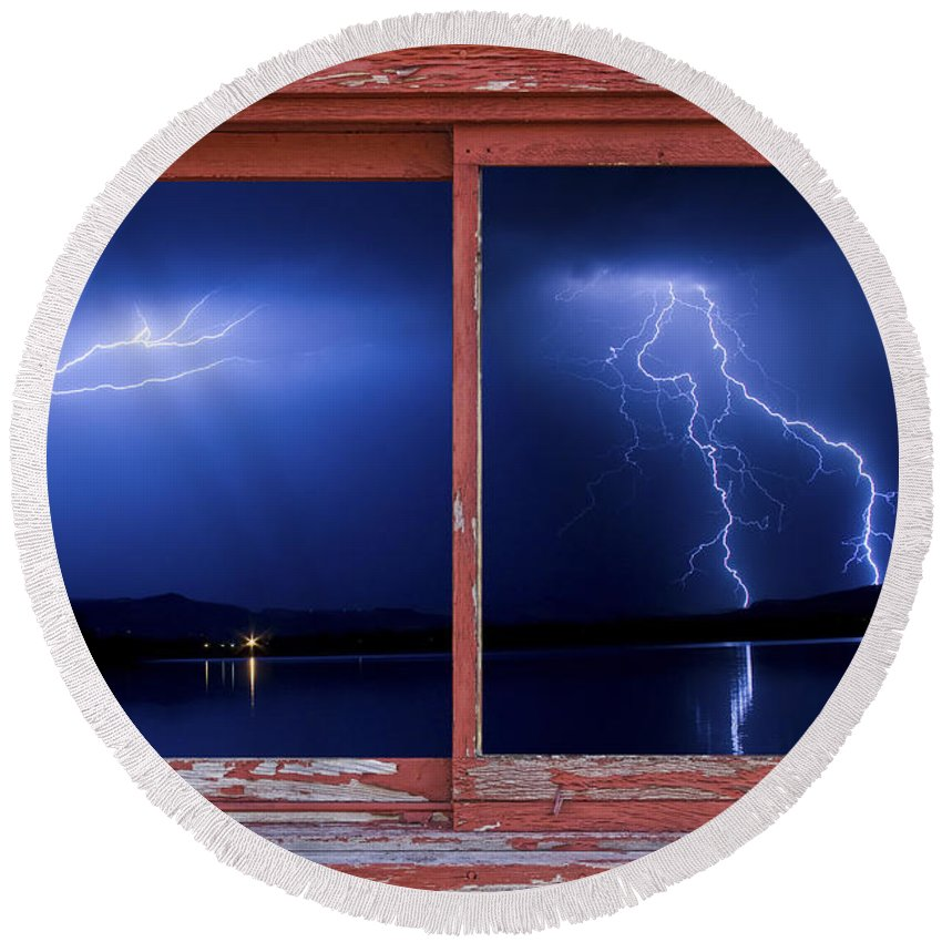 Picture Round Beach Towel featuring the photograph August Storm Red Barn Picture Window Frame Photo Art View by James BO Insogna
