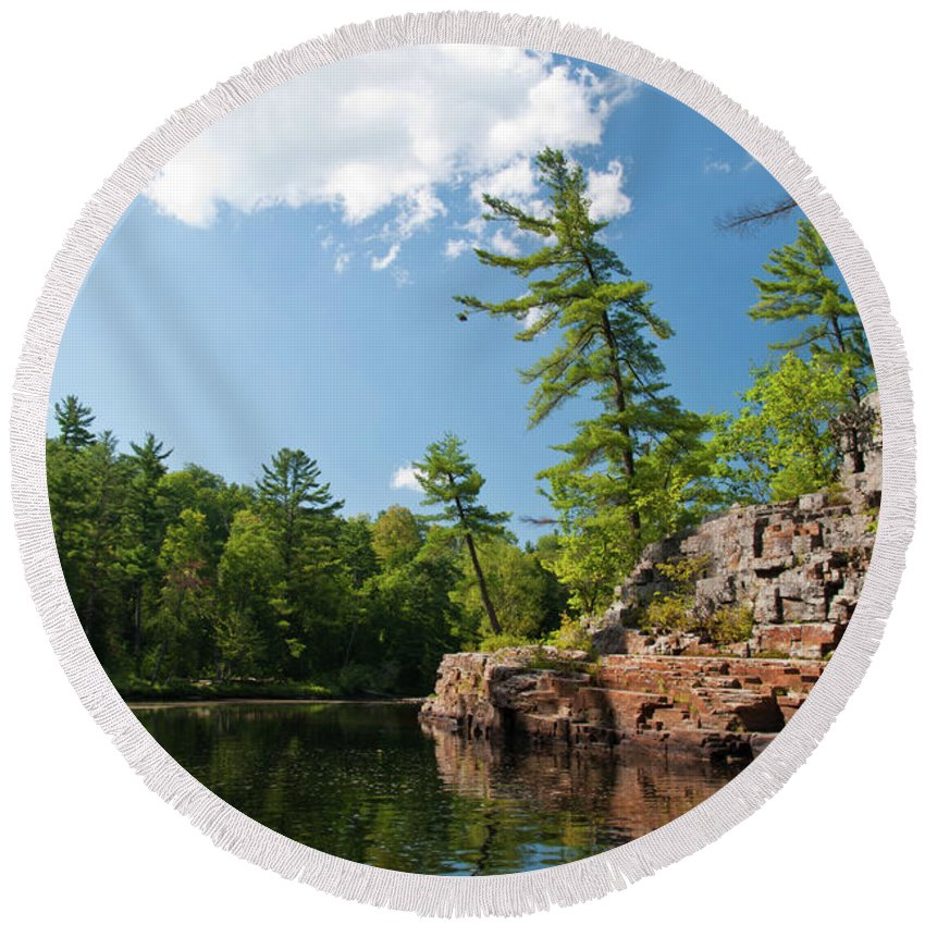 Landscape Round Beach Towel featuring the photograph Ausable Chasm 1618 by Guy Whiteley