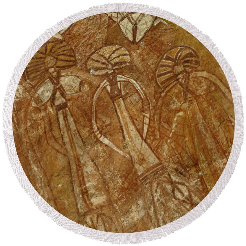 Aboriginal Art Round Beach Towel featuring the photograph Indigenous Aboriginal Art 2 by Bob Christopher
