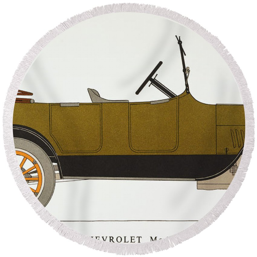 1919 Round Beach Towel featuring the photograph Auto: Chevrolet, 1919 by Granger