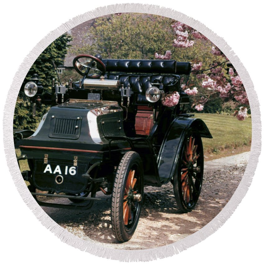 1899 Round Beach Towel featuring the photograph Auto: Daimler, 1899 by Granger