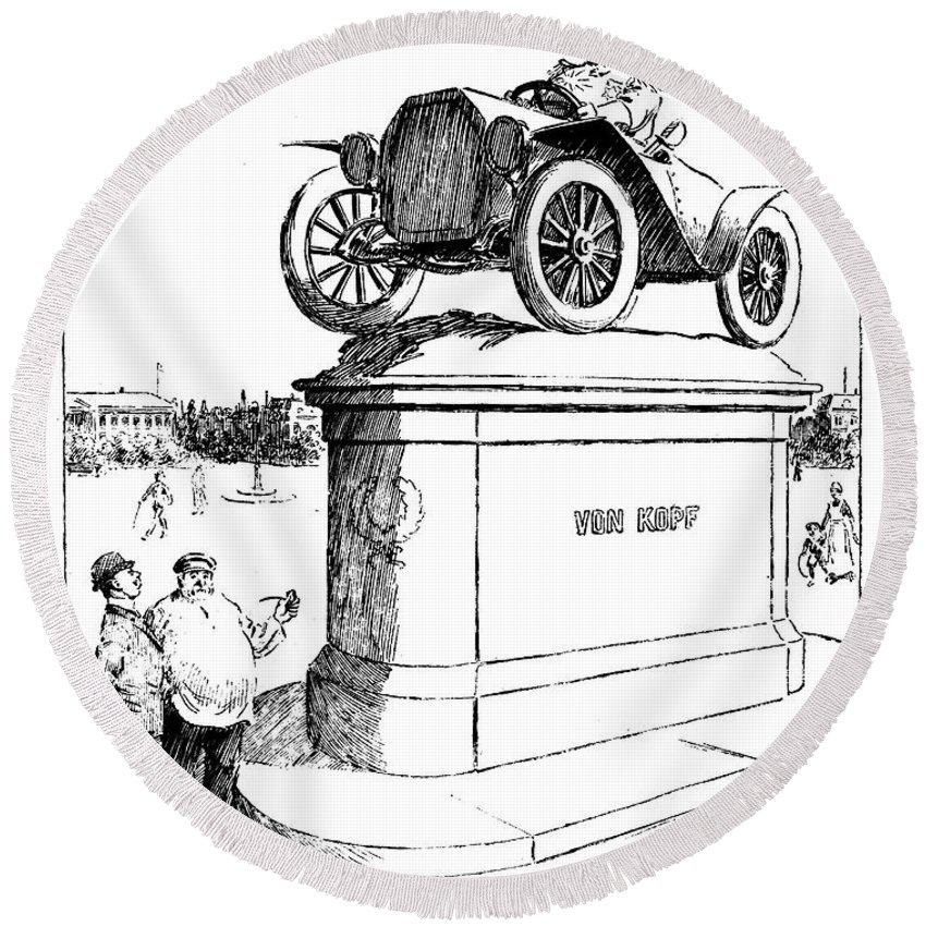 1914 Round Beach Towel featuring the photograph Automobile Cartoon, 1914 by Granger