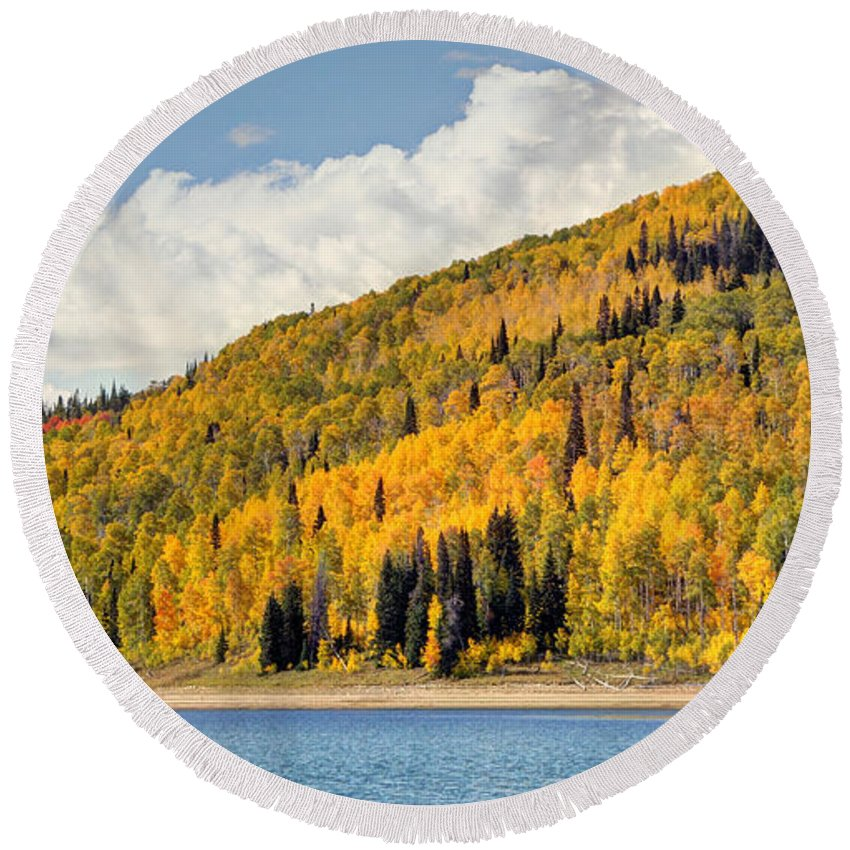 Autumn Round Beach Towel featuring the photograph Autumn At Huntington Reservoir - Wasatch Plateau - Utah by Gary Whitton